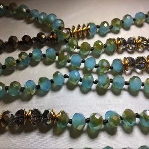 """Jewelry - Teal, Brown and Gold 60"""" Necklace"""